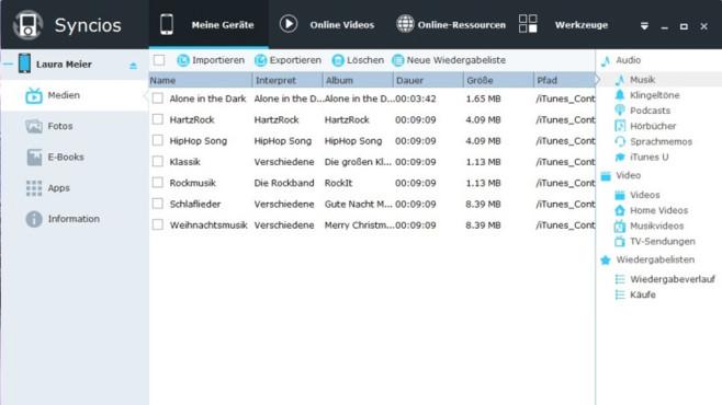 Syncios (iOS- & Android-Manager): Mobilgeräte mit Daten füllen ©COMPUTER BILD
