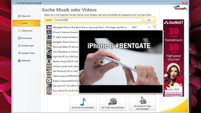 YouTube Song Downloader: Videos suchen und sichern ©COMPUTER BILD