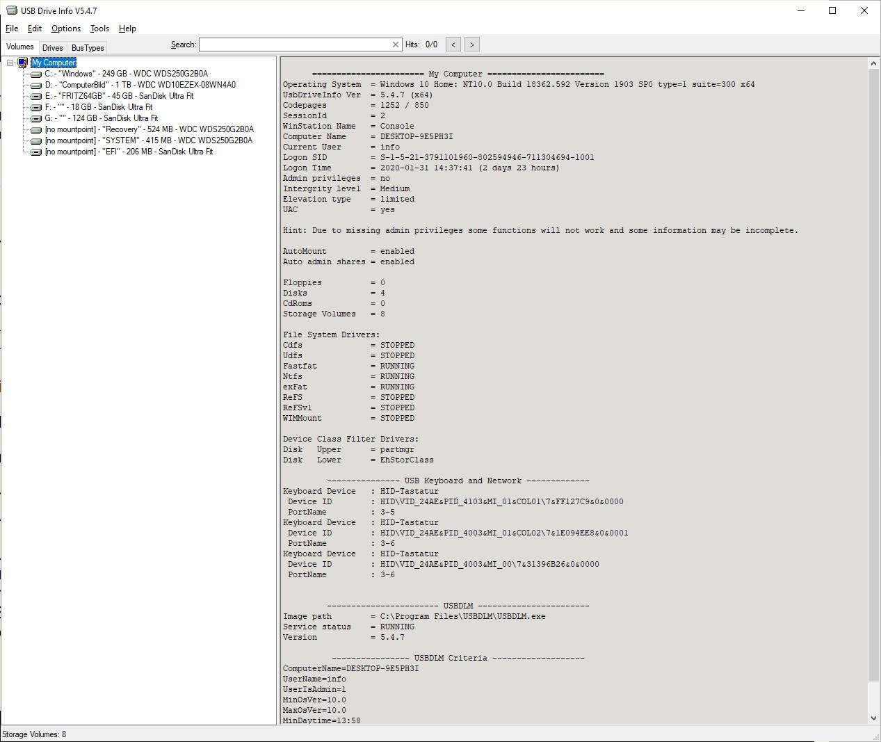 Screenshot 1 - USB Drive Letter Manager (USBDLM)