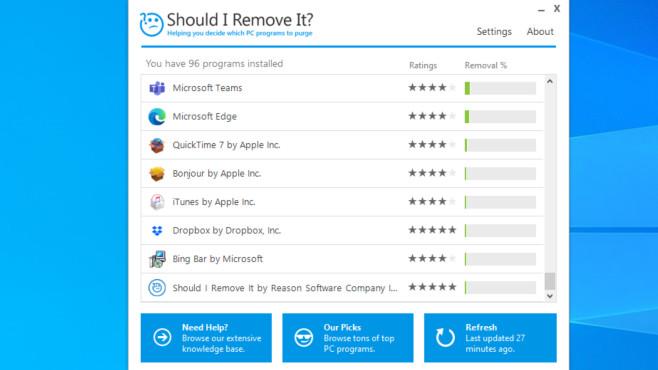 Bloatware entfernen: Mit diesen Tipps und Tools befreien Sie Ihren PC davon Das schlanke Should I Remove It ist ein informatives Tool. Mit ihm deinstallieren Sie unerwünschte Programme schnell. Ein Registry-Cleaner fehlt.©COMPUTER BILD