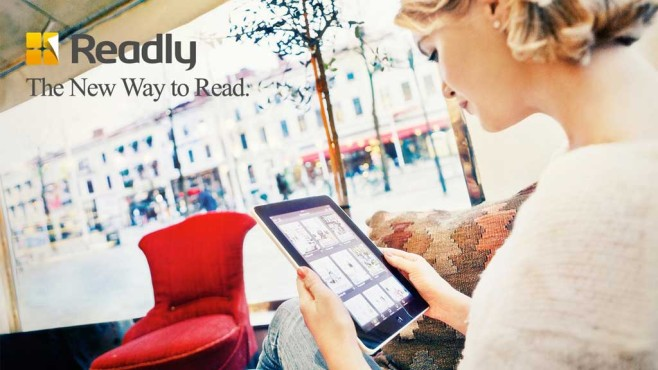 Frau mit Readly-App©Readly