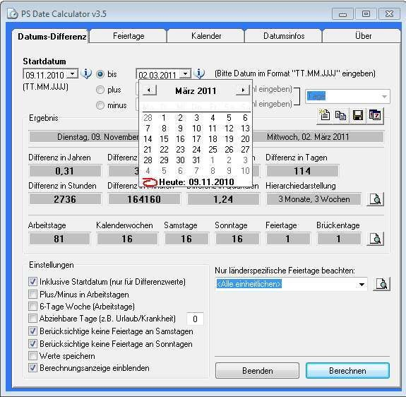 PS Date Calculator 3 5 (Build 167) - Download - COMPUTER BILD
