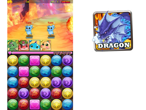 Puzzle Dragon: 3-Gewinnt-Spiel ©Softgames