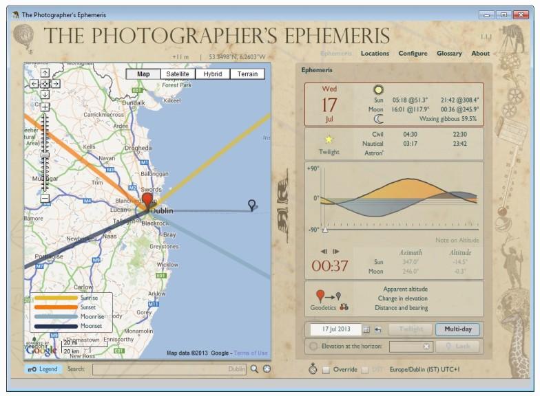 Screenshot 1 - The Photographer's Ephemeris