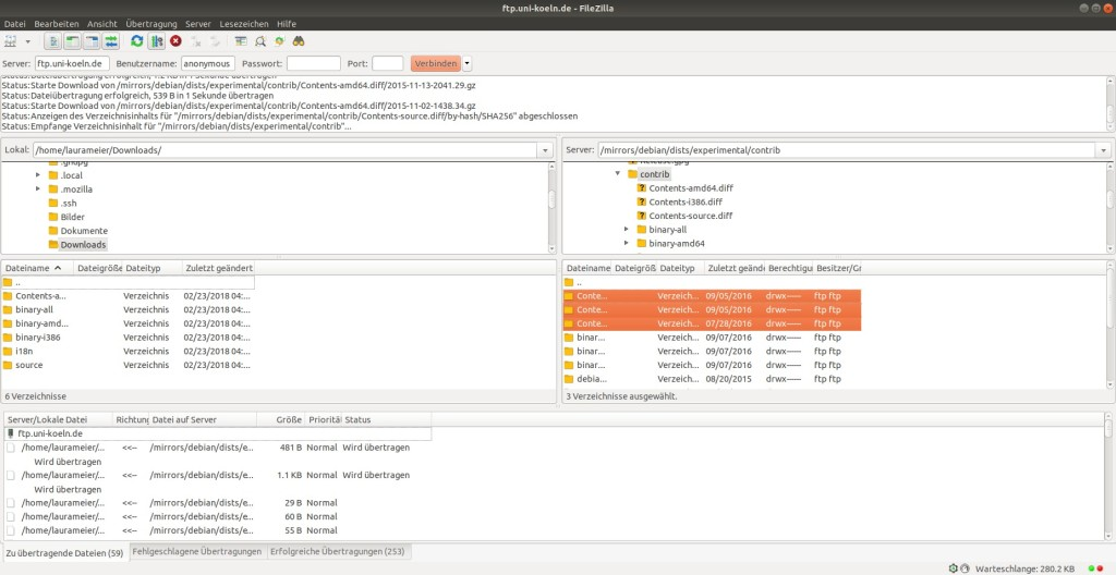 Screenshot 1 - FileZilla (Linux)