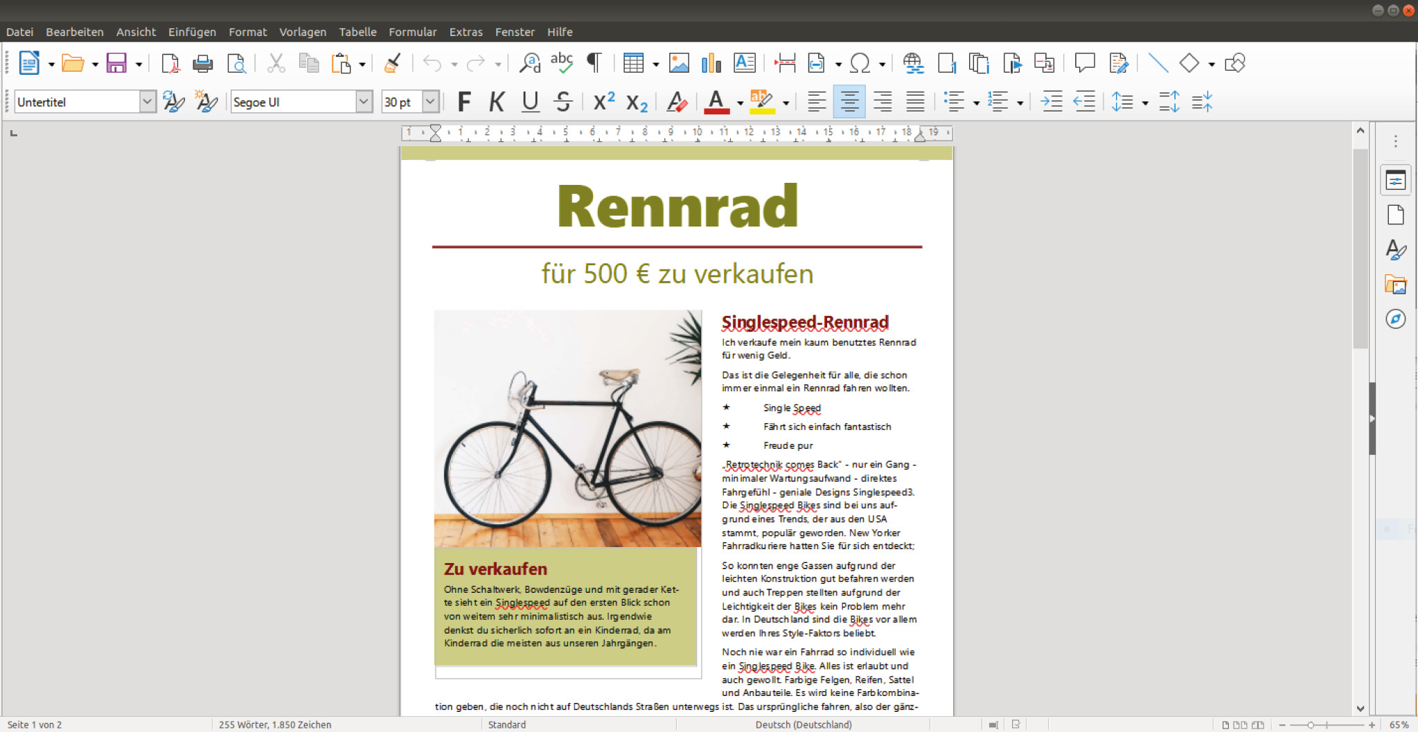 Screenshot 1 - LibreOffice (Linux)