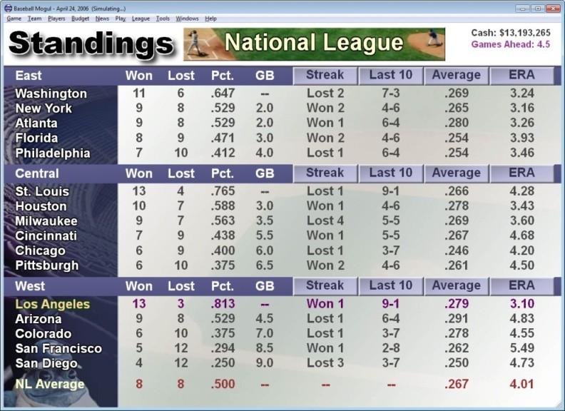 Screenshot 1 - Baseball Mogul 2006