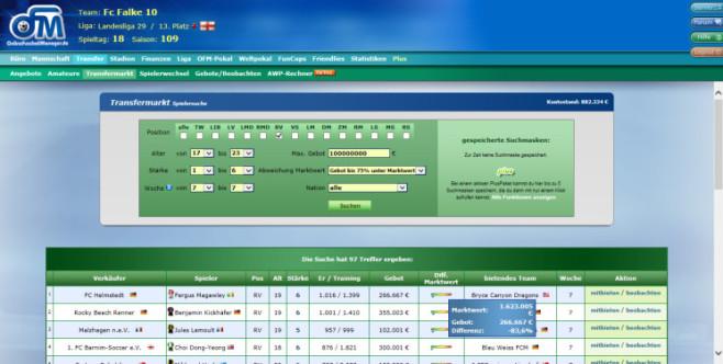 """Browserspiel """"Online Fussball Manager"""": Marktwert ©Online Fussball Manager"""