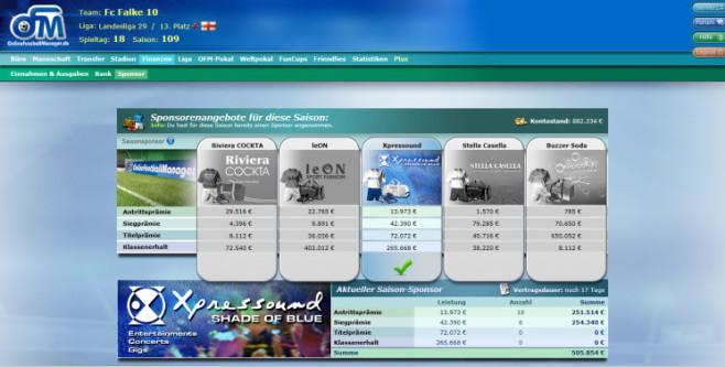 """Browserspiel """"Online Fussball Manager"""": Sponsor ©Online Fussball Manager"""