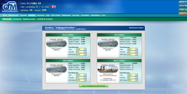 "Browserspiel ""Online Fussball Manager"": Stadion ©Online Fussball Manager GmbH"