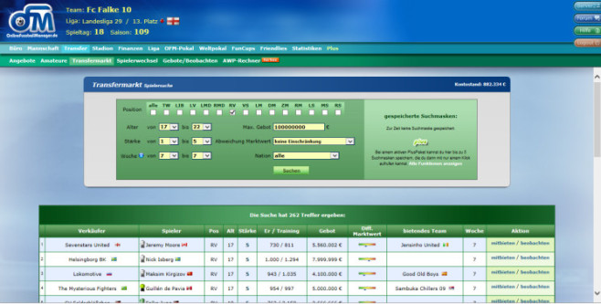 "Browserspiel ""Online Fussball Manager"": Transfer © Online Fussball Manager"