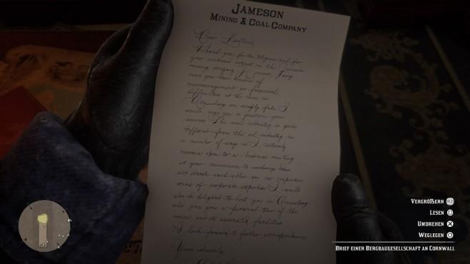 Red Dead Redemption 2 im Test: Aufsatteln und eintauchen Keine Brüche: Wenn Sie einen Brief lesen, blicken Sie auf das Dokument in Arthurs Hand.©Rockstar Games