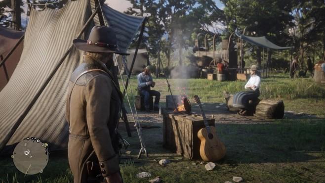 Red Dead Redemption 2 im Test: Aufsatteln und eintauchen Lagerromantik: Die Van-der-Linde-Gang ist auf der Flucht und zieht mit mehreren Wägen samt eigener Feldküche durch das Land.©Rockstar Games