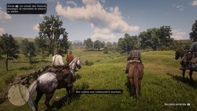 Red Dead Redemption 2 im Test: Aufsatteln und eintauchen Maskiert: Ehe die Gang ein Verbrechen begehen, ziehen Sie Arthur das Halstuch über Mund und Nase.©Rockstar Games
