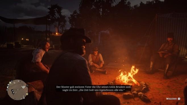 Red Dead Redemption 2 im Test: Aufsatteln und eintauchen Sozial: Ob Arthur seinen Freunden am Lagerfeuer Gesellschaft leistet oder nicht, entscheiden Sie.©Rockstar Games
