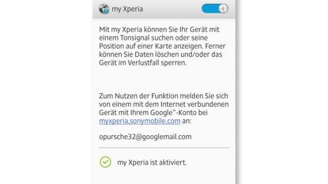 Funktionen My Xperia ©Sony