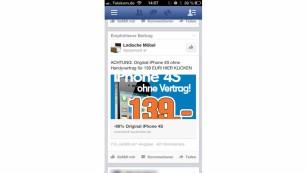 Mobile Werbe-Anzeige©Facebook