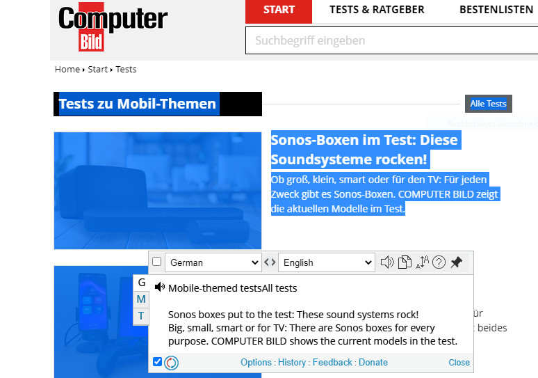Screenshot 1 - ImTranslator für Chrome