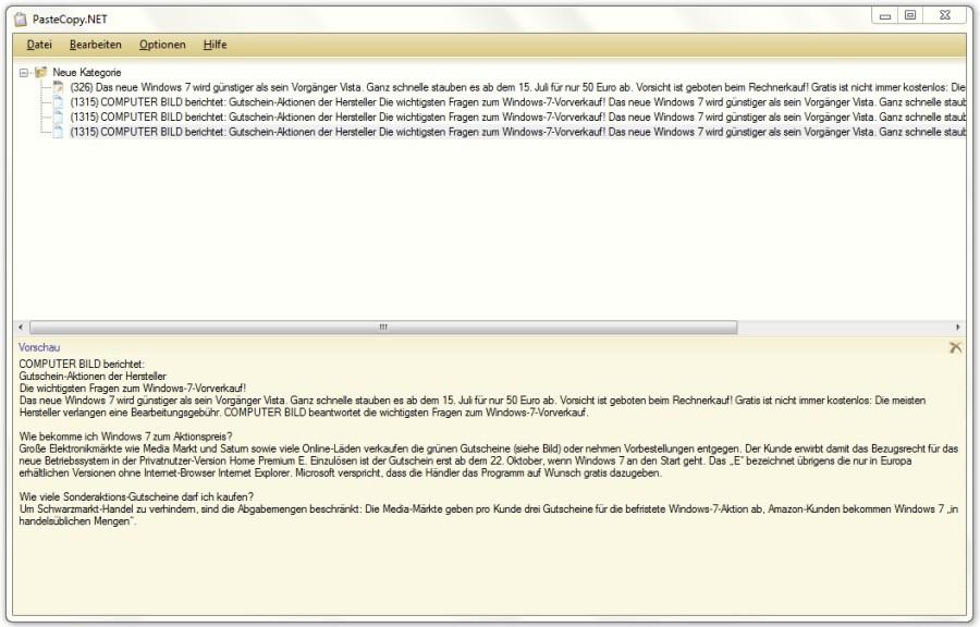 Screenshot 1 - PasteCopy.NET