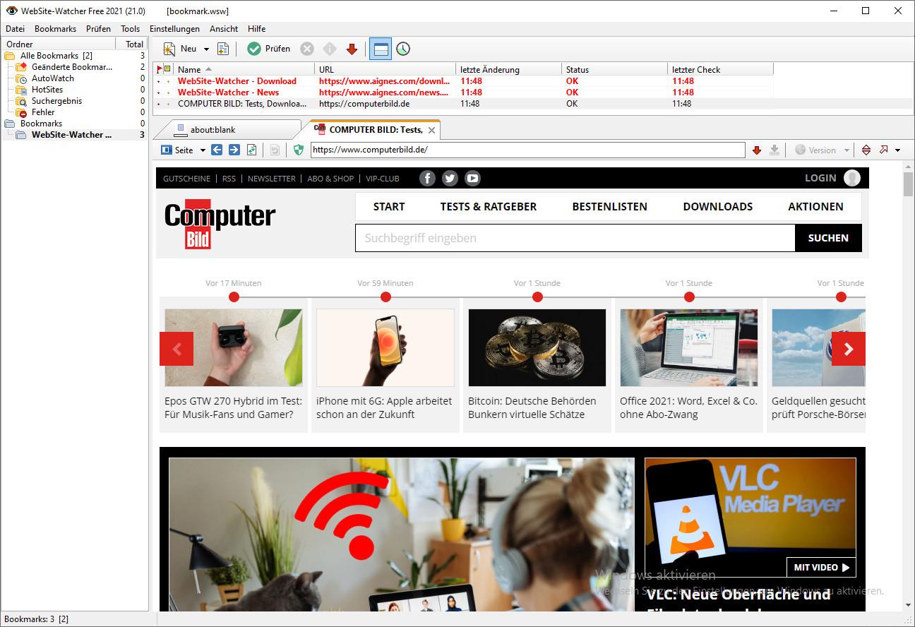 Screenshot 1 - WebSite-Watcher Free 2021
