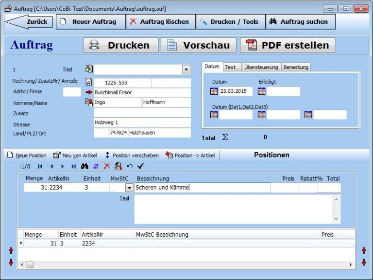 Screenshot 1 - Auftragsverwaltung