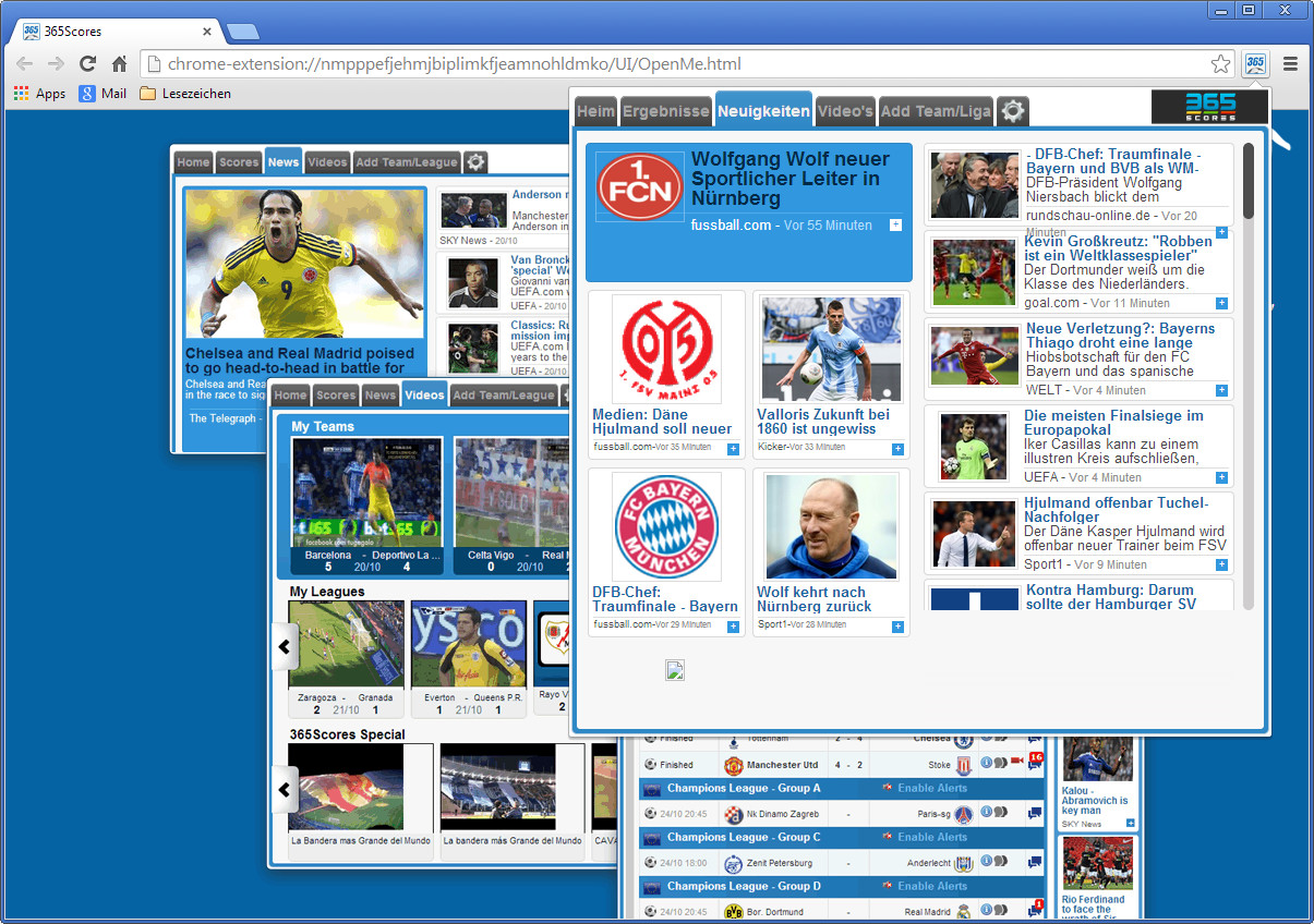 Screenshot 1 - 365Scores Notifier für Chrome