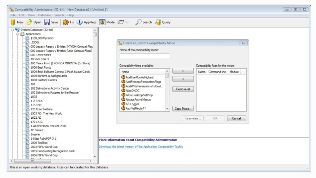 Screenshot 1 - Microsoft Application Compatibility Toolkit