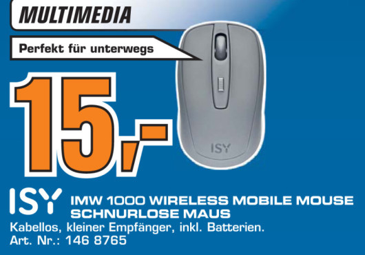 ISY IMW 1000 Wireless Mobile Mouse ©Saturn