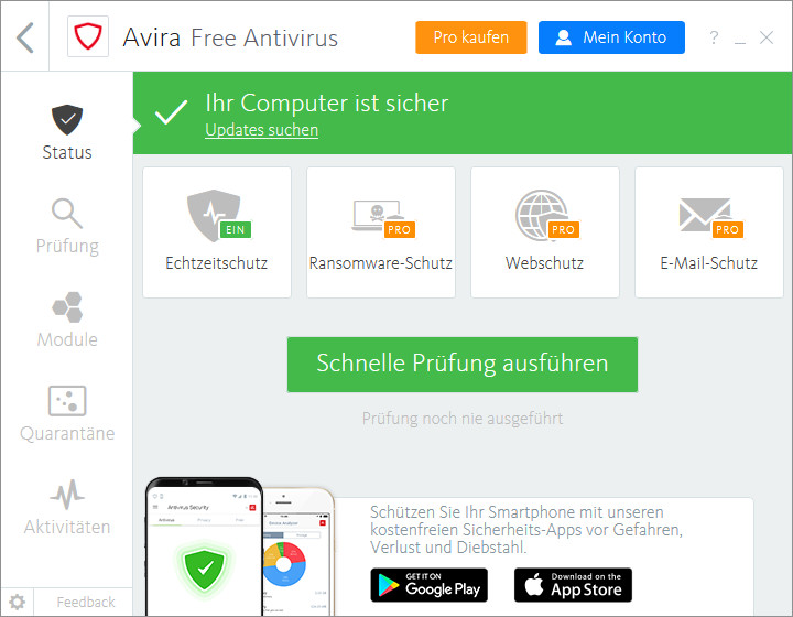 Screenshot 1 - Avira Antivirus Pro
