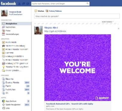 GIF auf Facebook eingebettet ©COMPUTER BILD