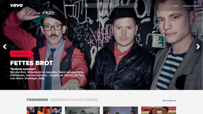 Screenshot der Startseite von Vevo Deutschland©COMPUTER BILD