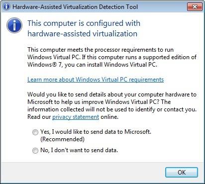 Screenshot 1 - Microsoft Hardware-assisted Virtualization Detection Tool