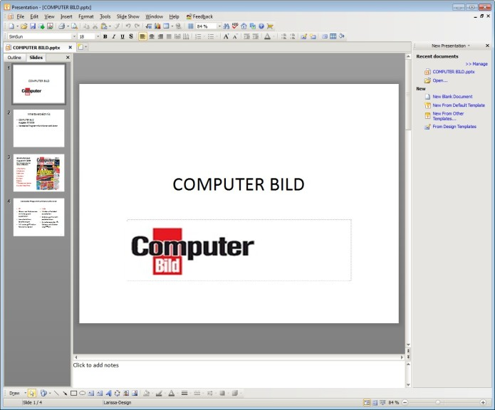 Screenshot 1 - Kingsoft Presentation Free 2012