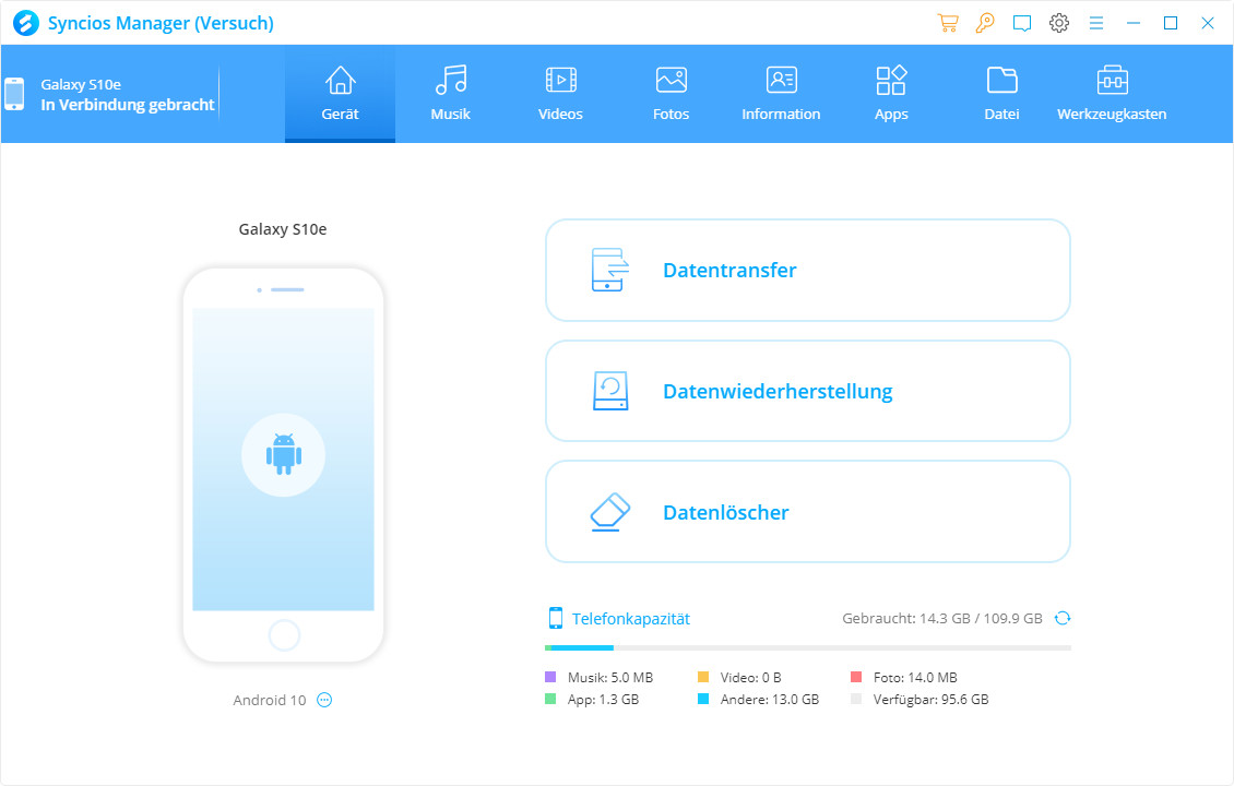 Screenshot 1 - Syncios (iOS- & Android-Manager)