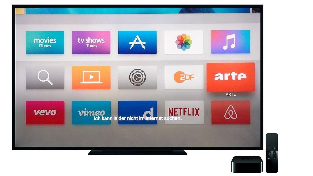 Apple TV 4 im Test: Schnell, aber dennoch enttäuschend Das Menü vom neuen Apple TV 4 ist schön klar und flott bedienbar, Siri steht allerdings häufiger mal auf dem Schlauch.©Apple, COMPUTER BILD