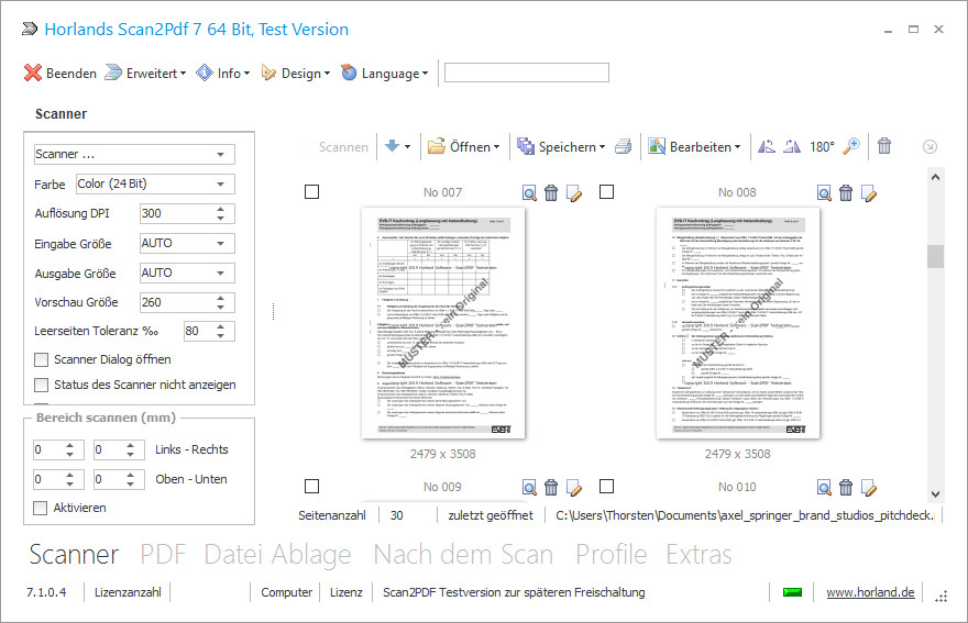 Screenshot 1 - Horland Scan2PDF