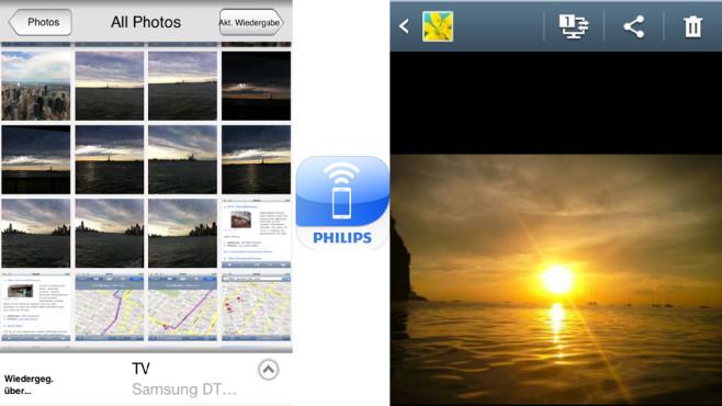 Fotos vom Smartphone aufs TV beamen So einfach laden Sie eine Datei bei Zeta Uploader hoch.©COMPUTER BILD/Philips