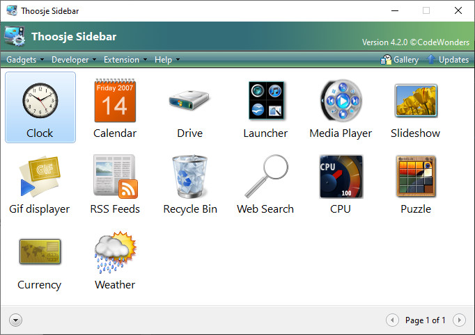 Screenshot 1 - Thoosje Windows Sidebar