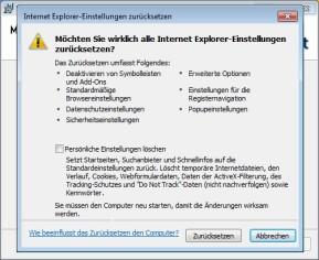 Microsoft Fix it: Internet-Explorer-Einstellungen zurücksetzen