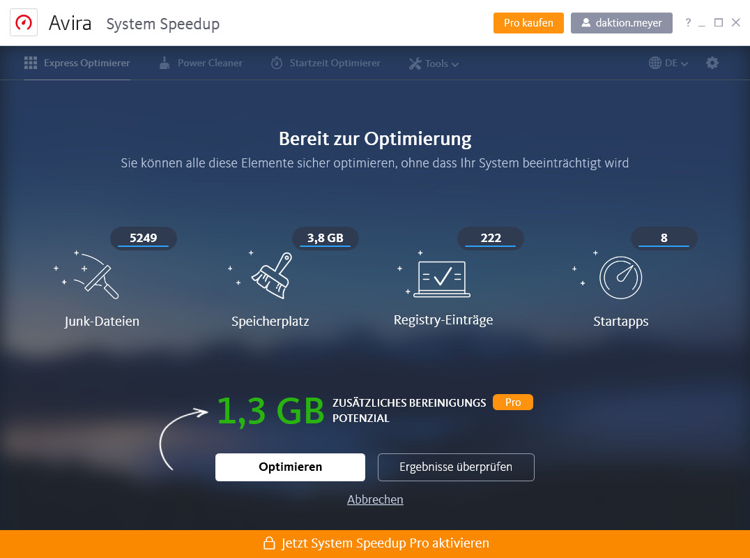Screenshot 1 - Avira System Speedup