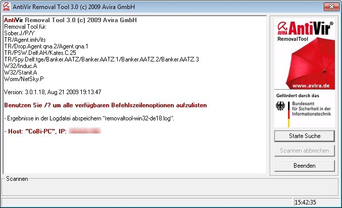 Screenshot 1 - Avira AntiVir Removal Tool