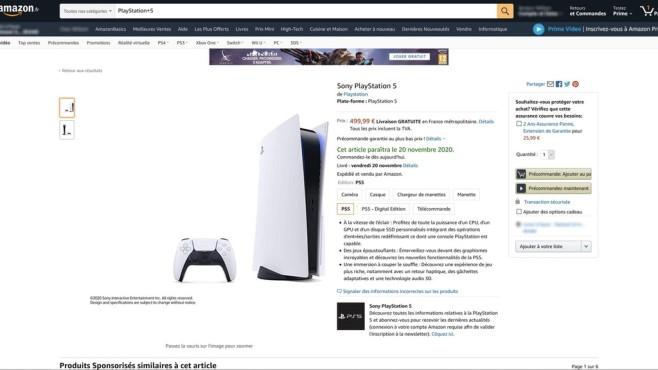 PS5-Preis bei Amazon France©amazon.fr