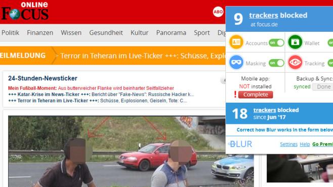 Blur: Webseiten-Tracker blockieren ©COMPUTER BILD