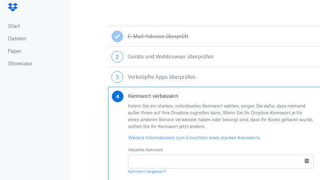 Dropbox Security Checkup: Webdienst absichern © COMPUTER BILD