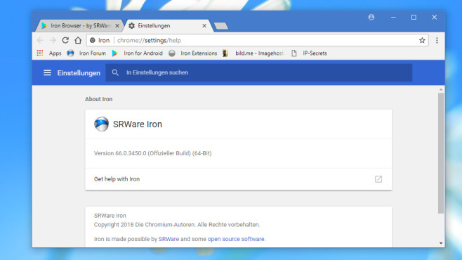 SRWare Iron: Chrome-Alternative ohne Google-Anbindung © COMPUTER BILD