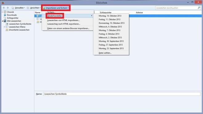 So geht es: Gelöschte Firefox-Lesezeichen wiederherstellen©COMPUTER BILD