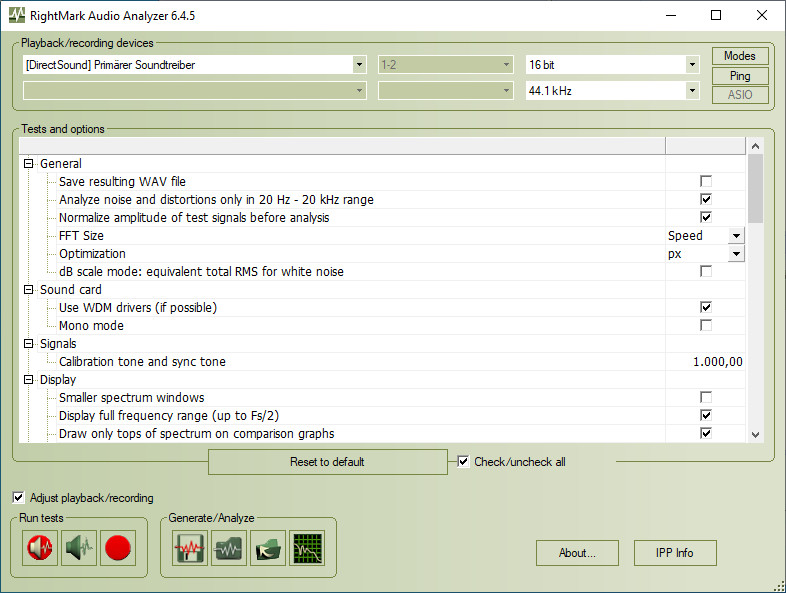 Screenshot 1 - RightMark Audio Analyzer