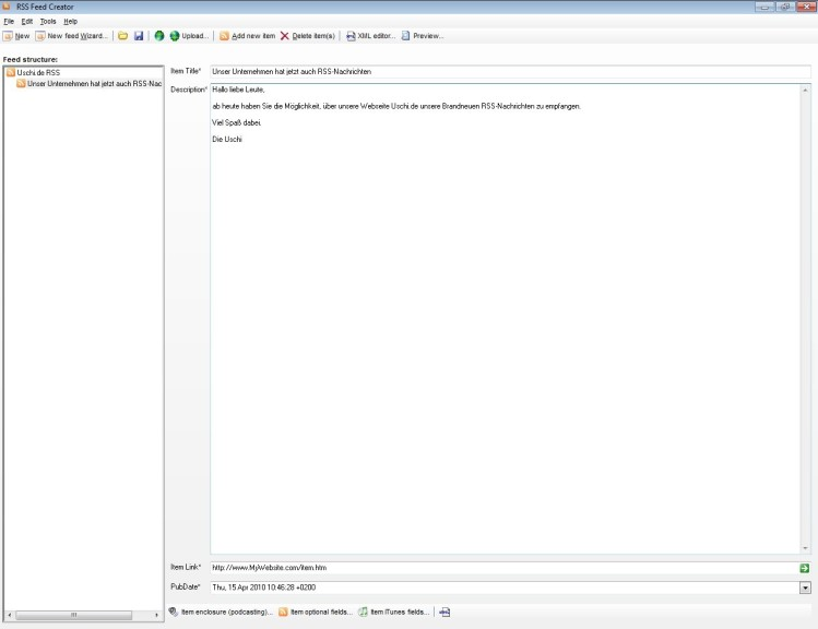 Screenshot 1 - RSS Feed Creator