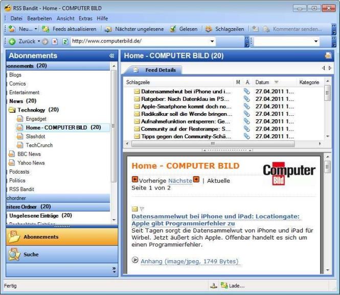 Screenshot 1 - RSS Bandit