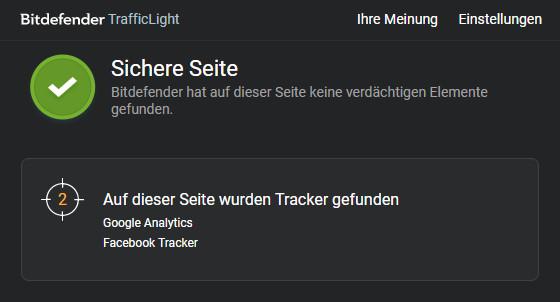 Screenshot 1 - Bitdefender TrafficLight für Chrome